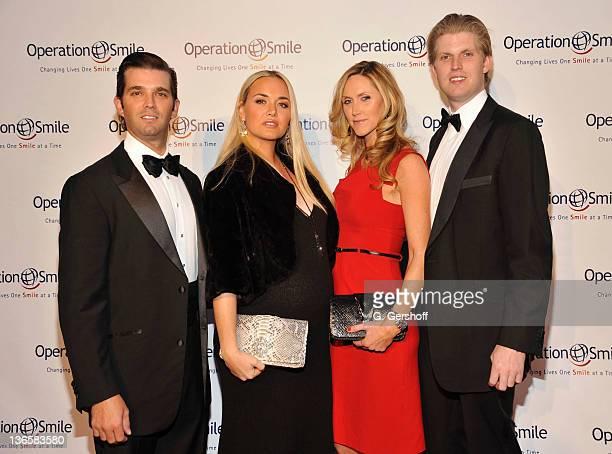 Donald Trump Jr Vanessa Trump Lara Yunaska and Eric Trump attend Operation Smile as they honor Santo Versace at The 2011 Smile Event at Cipriani Wall...