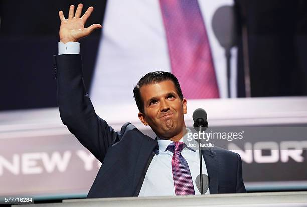 Donald Trump Jr waves to the crowd after delivering a speech on the second day of the Republican National Convention on July 19 2016 at the Quicken...