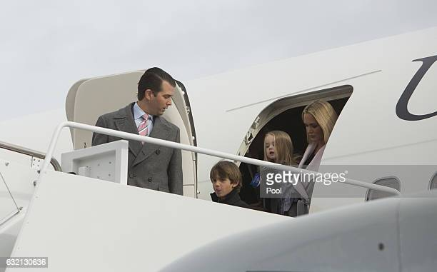 Donald Trump Jr wife Vanessa and children Donald Trump III and Chloe Sophia Trump arrive at Joint Base Andrews in January 19 2017 in Maryland...