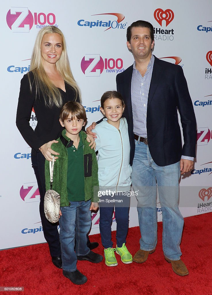Donald Trump Jr., wife Vanessa Haydon, and children Kai Madison and Donald John III attend the Z100's iHeartRadio Jingle Ball 2015 at Madison Square Garden on December 11, 2015 in New York City.