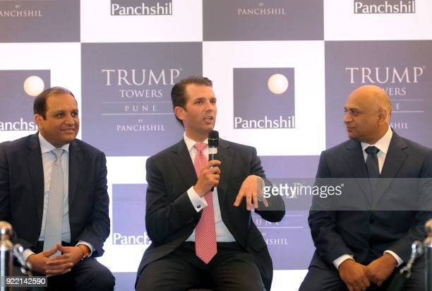 Donald Trump Junior son of US President Donald Trump speaks as Panchshil Group Director Sagar Chordia and Panchshil Group Chairman Atul Chordia look...