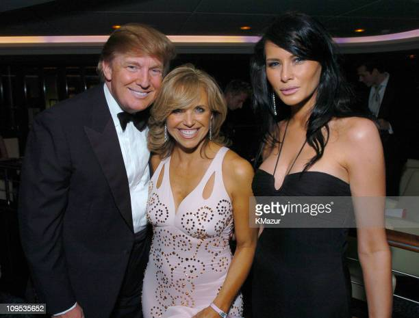 Donald Trump Katie Couric and Melania Knauss during Entertainment Industry Foundation's Colon Cancer Benefit on the QM2 Cast Party at Queen Mary 2 in...