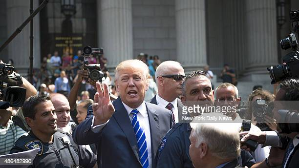 Donald Trump leaves 60 Centre Street New York State Civil Supreme Court Monday August 17th 2015