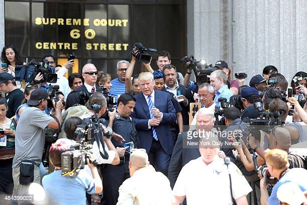 Donald Trump leaves Manhattan Supreme Court for lunch after reporting for jury duty on Monday August 17 2015