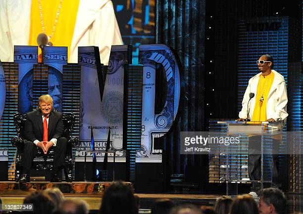 Donald Trump looks on as Snoop Dogg speaks at the COMEDY CENTRAL Roast of Donald Trump at the Hammerstein Ballroom on March 9 2011 in New York City