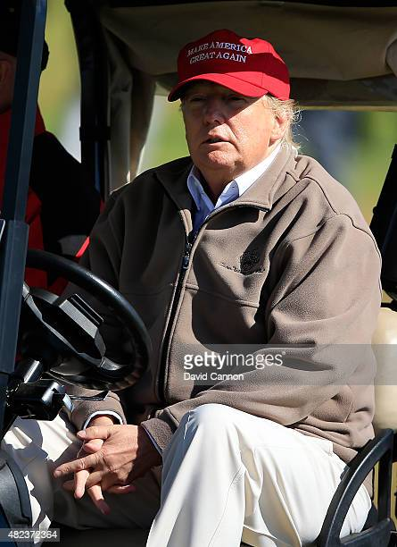 Donald Trump looks on during the First Round of the Ricoh Women's British Open at Turnberry Golf Club on July 30 2015 in Turnberry Scotland