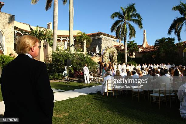 RATES Donald Trump looks on during the wedding of Ivana Trump and Rossano Rubicondi at the MaraLago Club on April 12 2008 in Palm Beach Florida