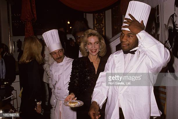 Donald Trump Lynn Wyatt and Mike Tyson during Annual March of Dimes Gourmet Gala at Plaza Hotel in New York City New York United States