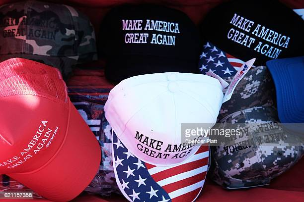 Donald Trump 'Make America Great Again' hats are sold at a rally on November 4 2016 in Hershey Pennsylvania Days before the presidential election...