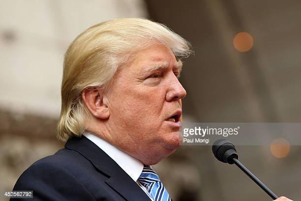 Donald Trump makes a few remarks at the Trump International Hotel Washington DC Groundbreaking Ceremony at Old Post Office on July 23 2014 in...