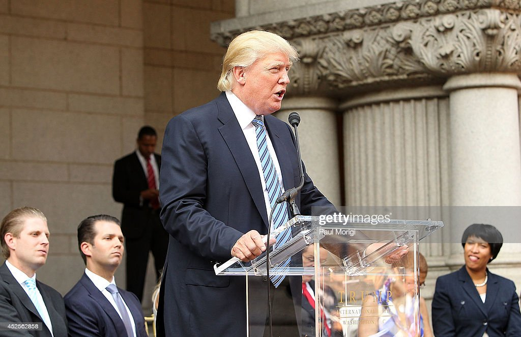 Donald Trump makes a few remarks at the Trump International Hotel Washington, D.C Groundbreaking Ceremony at Old Post Office on July 23, 2014 in Washington, DC.