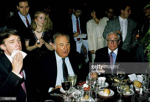 Donald Trump Malcolm Forbes and Alfred Taubman during Mike Tyson vs Carl Williams July 21 1989 at Trump Plaza in Atlantic City New Jersey United...