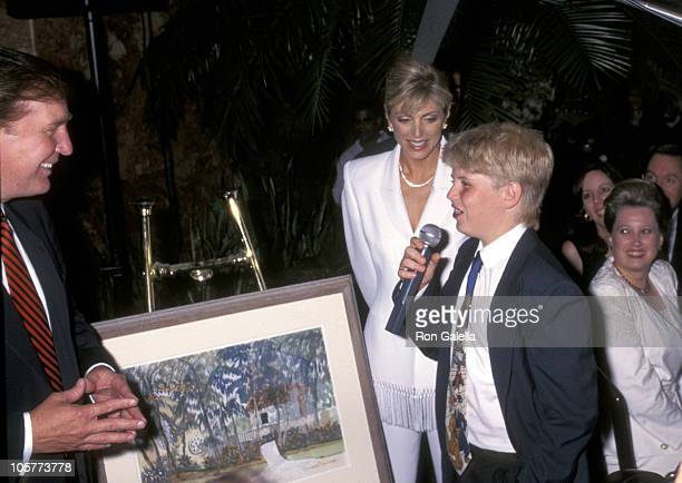 Donald Trump Marla Maples and Eric Trump during Donald Trump 50th Birthday Party at Trump Tower in New York City New York United States