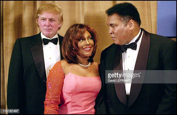 Donald Trump Mary Wilson and Muhammad Ali in New York United States on March 14 2001