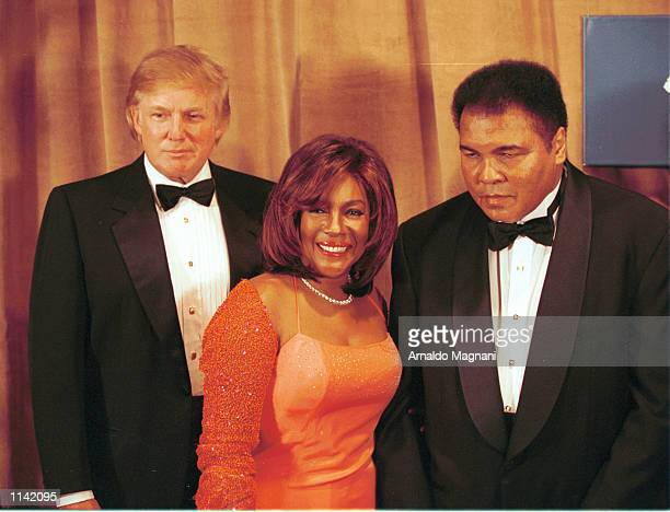 Donald Trump Mary Wilson and the legendary heavyweight champ Muhammad Ali pose March 14 2001 in New York City Ali was honored at the 46th Annual...