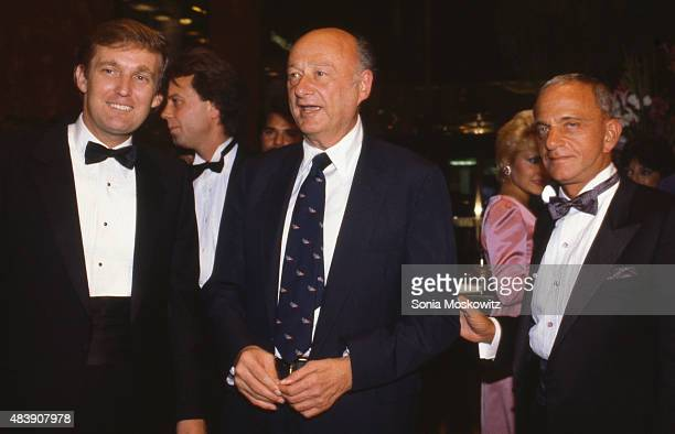 Donald Trump, Mayor Ed Koch, and Roy Cohn attend the Trump Tower opening in October 1983 at The Trump Tower in New York City.
