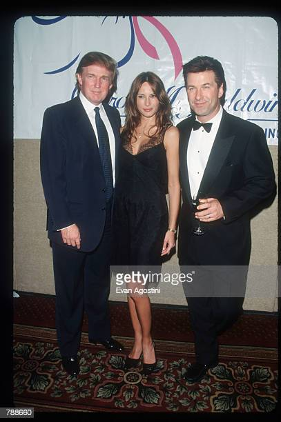 Donald Trump Melania Knauss and Alec Baldwin attends the Baldwin Cancer Benefit October 8 1999 in New York City The Carol M Baldwin Breast Cancer...