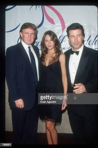 Donald Trump Melania Knauss and Alec Baldwin attends the Baldwin Cancer Benefit October 8 1999 in New York City The Carol M Baldwin Breast Cancer...