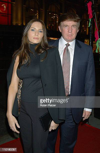 Donald Trump Melania Knauss during Philip Treacy Shows His Spring 2003 Hat Collection at Bergdorf's at Bergdorf Goodman in New York City NY United...