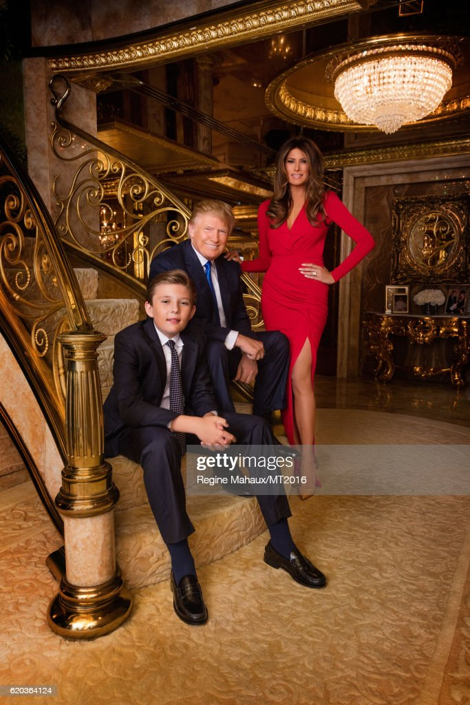 Donald Trump, Melania Trump and Barron Trump are photographed at Trump Tower on January 6, 2016 in New York City.