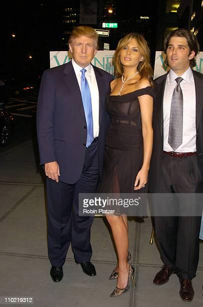 Donald Trump Melania Trump and Donald Trump Jr during 'Veranda New York's Best at Trump Park Avenue The Ultimate Showcase Penthouse' Opening Night...