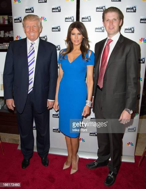 Donald Trump Melania Trump and Eric Trump attend the Celebrity Apprentice AllStar Event with Donald and Melania Trump at Trump Tower on April 9 2013...
