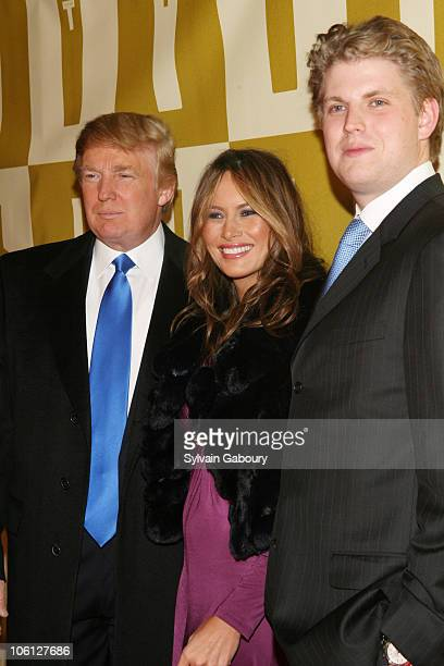 Donald Trump Melania Trump and Eric Trump during Trump Vodka Launch Party Red Carpet at Trump Tower at 725 Fifth Avenue in New York City New York...