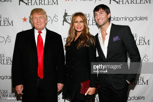 Donald Trump Melania Trump and Evan Lysacek attend the 2011 Skating With the Stars Gala at Wollman Rink Central Park on April 4 2011 in New York City