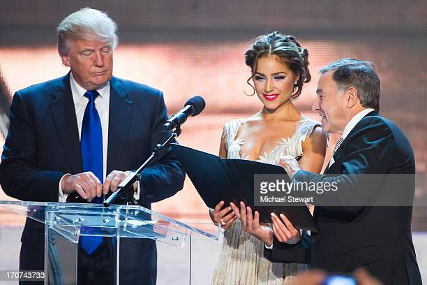 Donald Trump Miss Universe 2012 Olivia Culpo and Aras Agalarov onstage after winning the 2013 Miss USA pageant at PH Live at Planet Hollywood Resort...