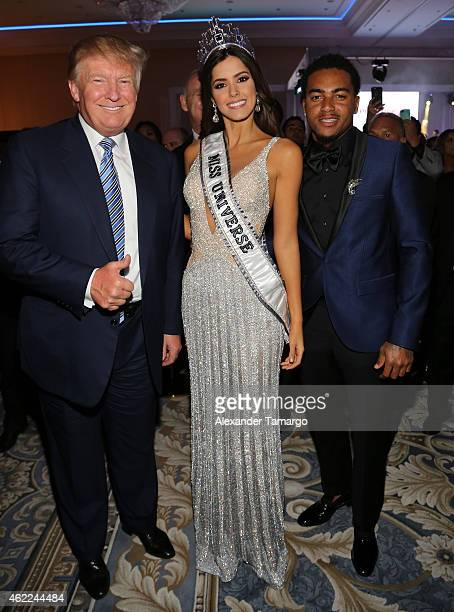 Donald Trump Miss Universe Paulina Vega and DeSean Jackson attend the Venue Magazine Official Miss Universe after party at Trump National Doral on...