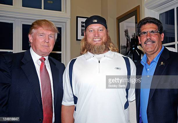 Donald Trump Nick Mangold and Matt Calamari attends the 5th annual Eric Trump Foundation Golf Invitational at the Trump National Golf Club...