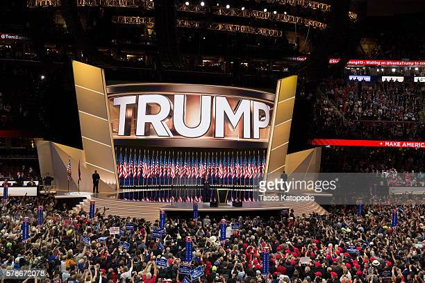 Donald Trump on the fourth day of the Republican National Convention on July 21, 2016 at the Quicken Loans Arena in Cleveland, Ohio. An estimated...