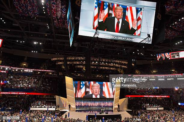 Donald Trump on the fourth day of the Republican National Convention on July 21 2016 at the Quicken Loans Arena in Cleveland Ohio An estimated 50000...