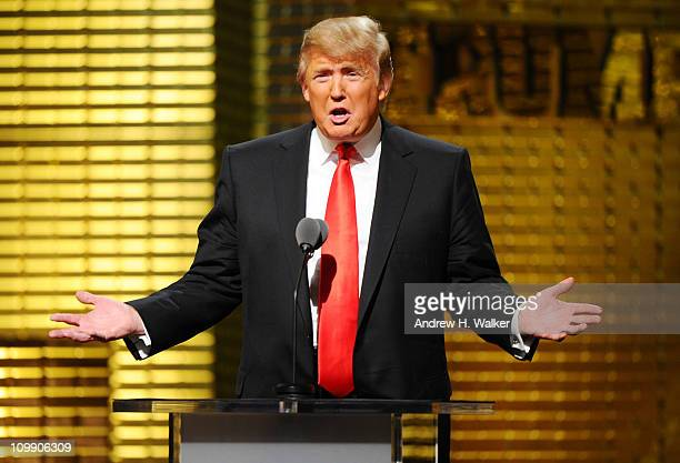 Donald Trump performs onstage at the Comedy Central Roast Of Donald Trump at the Hammerstein Ballroom on March 9 2011 in New York City