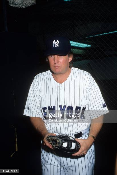 Donald Trump poses at Yankee Stadium for a portrait in 1991 in Los Angeles California