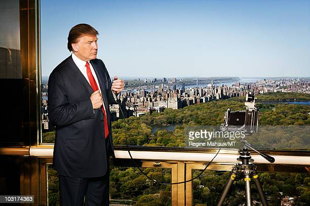 Donald Trump poses for a portrait on April 14 2010 in New York City Donald Trump is wearing a suit and tie by Brioni
