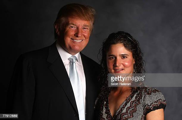 Donald Trump poses with LPGA player Lorena Ochoa of Mexico at the pairings party at the MaraLago Club prior to the start of the ADT Championship at...
