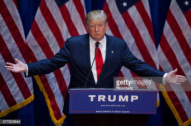 Donald Trump president and chief executive of Trump Organization Inc gestures while announcing he will seek the 2016 Republican presidential...
