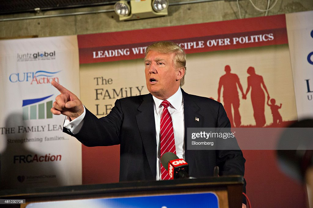 Donald Trump, president and chief executive of Trump Organization Inc. and 2016 U.S. presidential candidate, speaks during a press conference at The Family Leadership Summit in Ames, Iowa, U.S., on Saturday, July 18, 2015. The sponsor, The FAMiLY LEADER, is a 'pro-family, pro-marriage, pro-life organization which champions the principle that God is the ultimate leader of the family.' Photographer: Daniel Acker/Bloomberg via Getty Images
