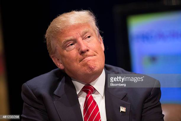 Donald Trump president and chief executive of Trump Organization Inc and 2016 US presidential candidate pauses while speaking during The Family...