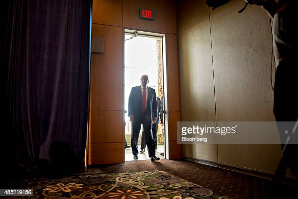 Donald Trump president and chief executive of Trump Organization Inc and 2016 Republican presidential candidate arrives for a news conference before...