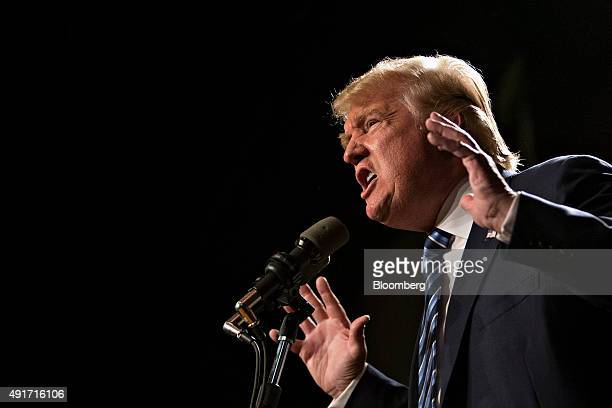 Donald Trump president and chief executive of Trump Organization Inc and 2016 Republican presidential candidate speaks during a campaign event at the...