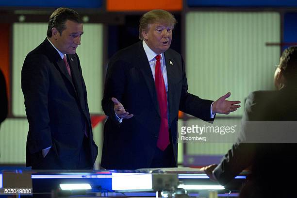 Donald Trump, president and chief executive of Trump Organization Inc. And 2016 Republican presidential candidate, right, and Senator Ted Cruz, a...