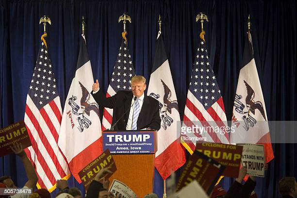 Donald Trump president and chief executive of Trump Organization Inc and 2016 Republican presidential candidate gestures during a campaign rally at...