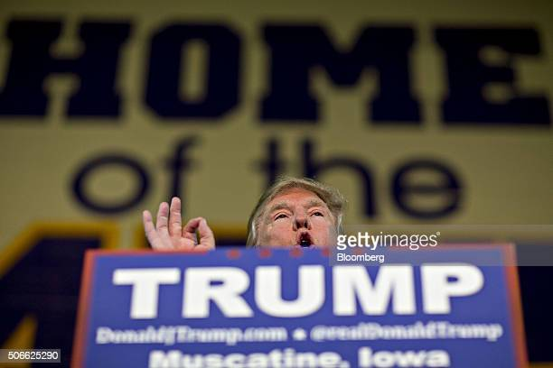Donald Trump president and chief executive of Trump Organization Inc and 2016 Republican presidential candidate speaks during a campaign rally in...