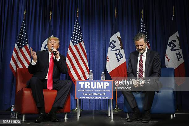 Donald Trump president and chief executive of Trump Organization Inc and 2016 Republican presidential candidate left speaks on stage with Jerry...