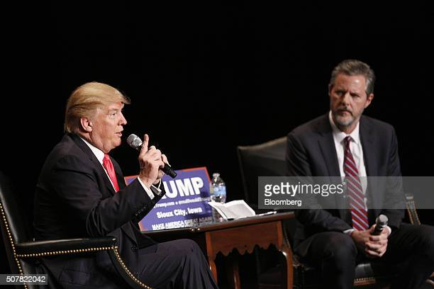 Donald Trump president and chief executive of Trump Organization Inc and 2016 Republican presidential candidate left speaks as Jerry Falwell Jr...
