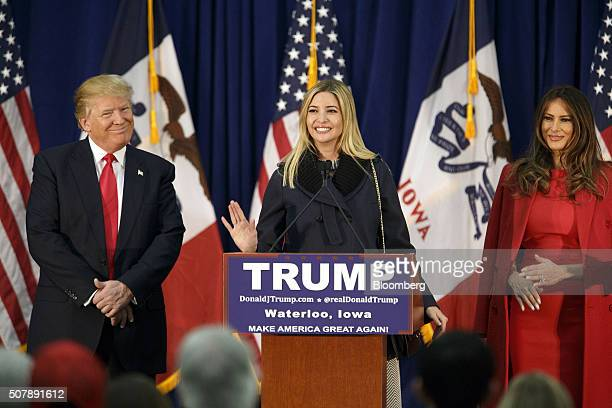 Donald Trump president and chief executive of Trump Organization Inc and 2016 Republican presidential candidate left and wife Melania Trump right...