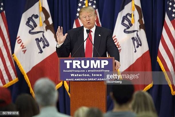 Donald Trump president and chief executive of Trump Organization Inc and 2016 Republican presidential candidate speaks during a campaign event in...