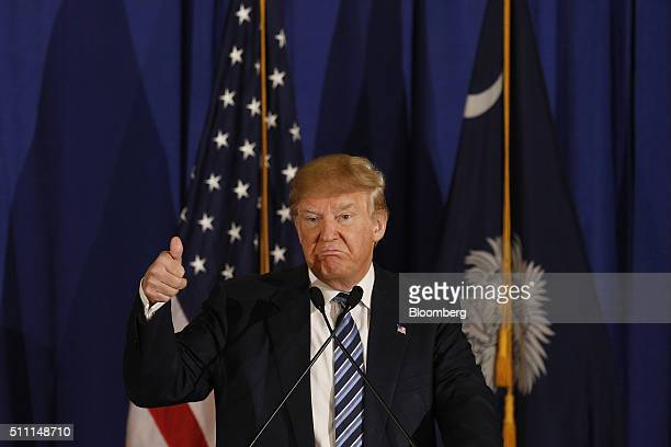 Donald Trump president and chief executive of Trump Organization Inc and 2016 Republican Presidential candidate frowns while speaking during a...